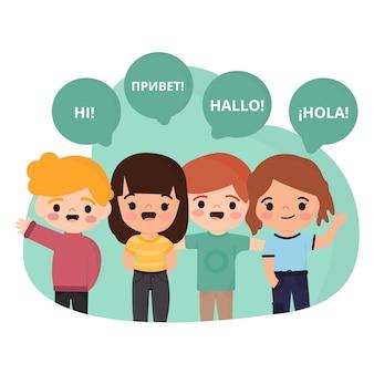 Crianças que falam línguas diferentes