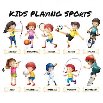 Crianças que jogam esportes