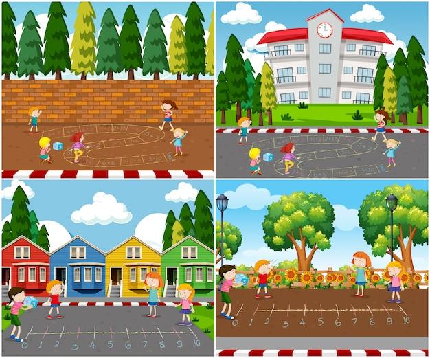 Crianças que jogam jogos de matemática ao ar livre