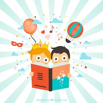 Crianças que lêem histórias de fantasia