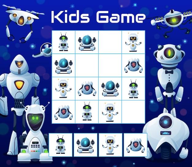 Crianças quebra-cabeça jogo de blocos com robôs, enigma de sudoku vetorial com personagens de desenhos animados, ciborgues humanóides, drones e andróides no tabuleiro de xadrez. tarefa educacional, teaser infantil, jogo de tabuleiro para o tempo livre