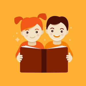 Crianças rading um livro