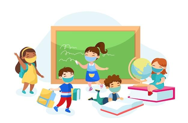 Crianças recebem educação na escola