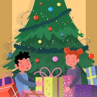 Crianças recebendo um presente de natal