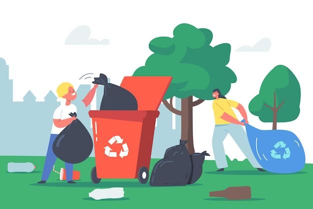 Crianças reciclando lixo, crianças personagens limpando jardim colete lixo no saco de lixo e na lixeira com a placa de reciclagem