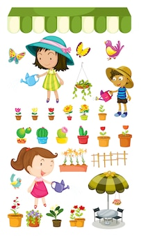 Crianças regando as plantas