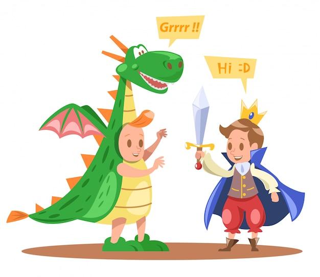 Crianças, rei, e, dragão, caráteres, desenho