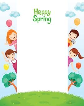 Crianças relaxando juntas em uma moldura de primavera feliz