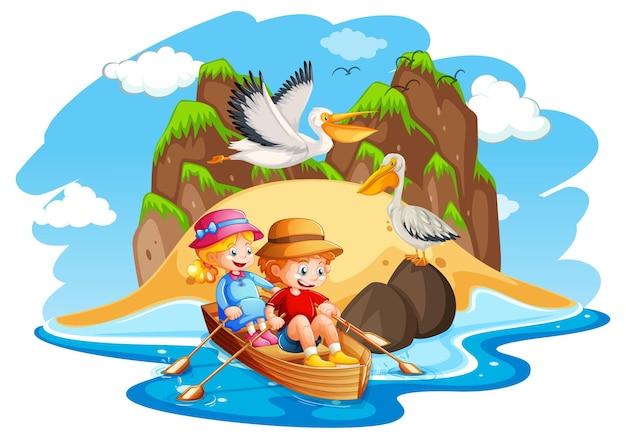 Crianças remam o barco na cena do mar
