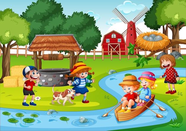 Crianças remando o barco na cena da fazenda do riacho