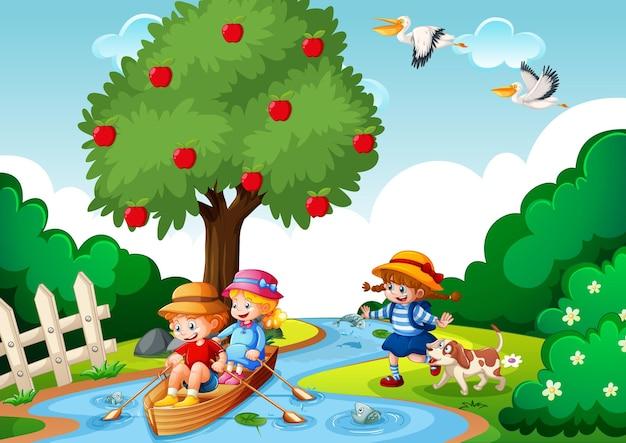 Crianças remando o barco na cena da floresta do riacho