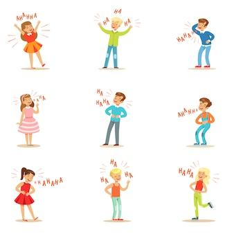 Crianças rindo histericamente alto conjunto de personagens de desenhos animados com riso e risada, escrito no texto