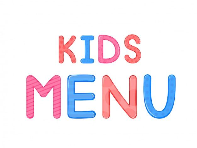 Crianças s palavras crianças menu branco fundo gráficos vetoriais