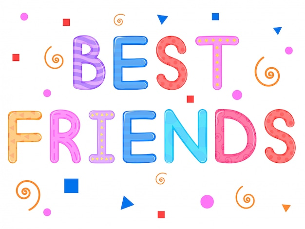 Crianças s palavras melhores amigos branco fundo