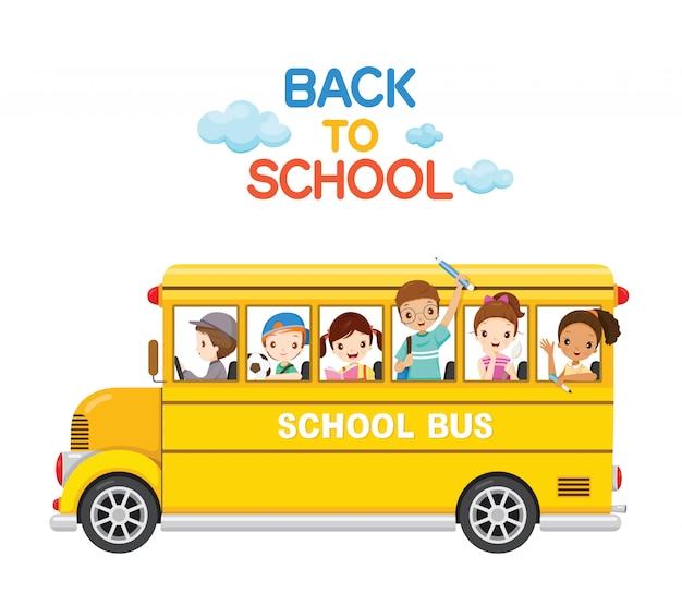 Crianças se divertem no ônibus escolar, estudante de volta à escola