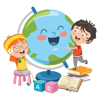 Crianças se divertindo com a terra