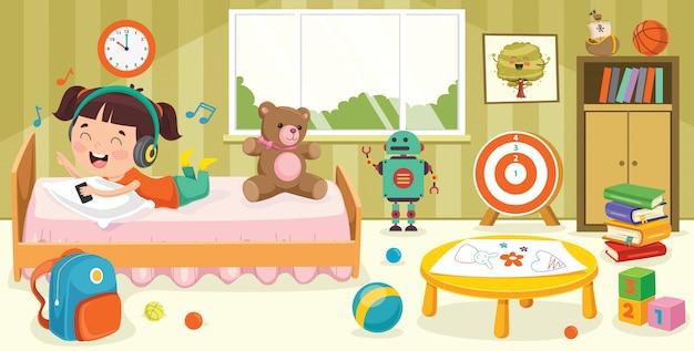 Crianças se divertindo em um quarto