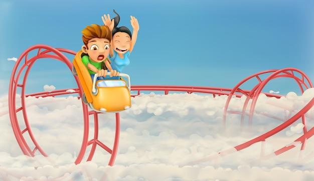 Crianças se divertindo em uma montanha-russa
