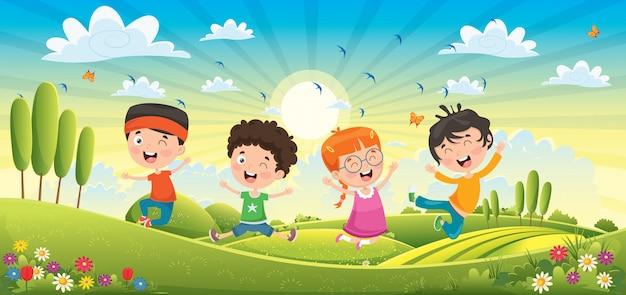 Crianças se divertindo na paisagem de primavera