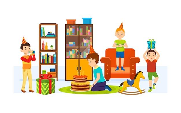 Crianças se divertindo na sala em uma noite de feriado.