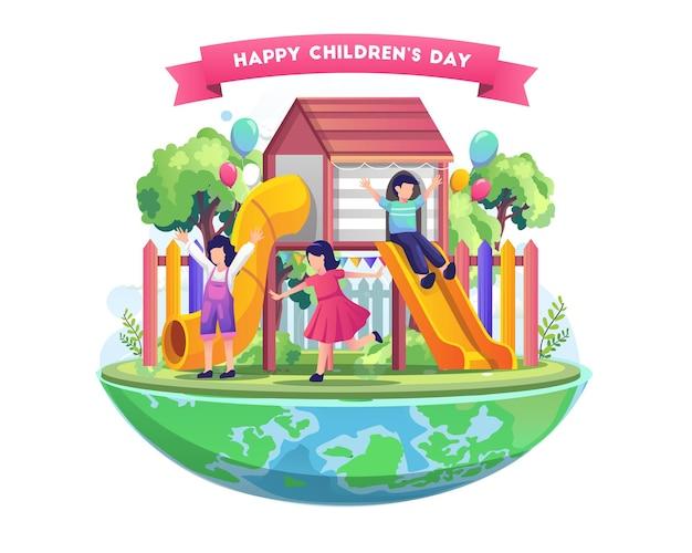 Crianças se divertindo no parquinho na ilustração mundial do dia das crianças