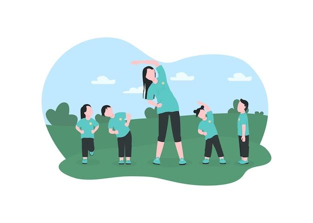 Crianças se exercitam com ilustração de pôster do professor da pré-escola
