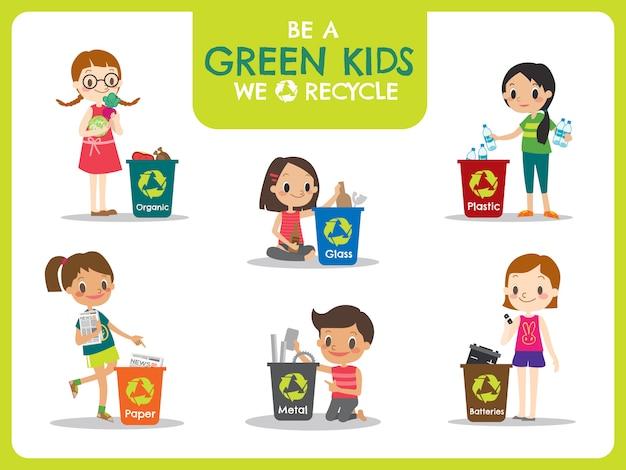 Crianças segregando a ilustração do conceito de reciclagem de lixo