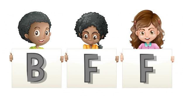 Crianças segurando a palavra para bff