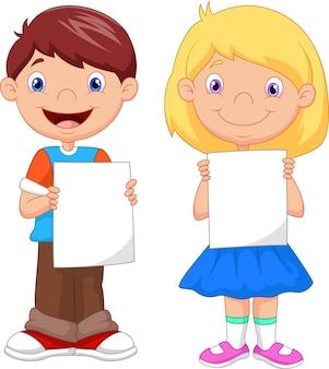 Crianças, segurando, em branco, papel