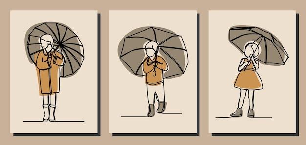 Crianças segurando guarda-chuva on-line arte em linha contínua