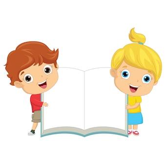 Crianças, segurando, livro