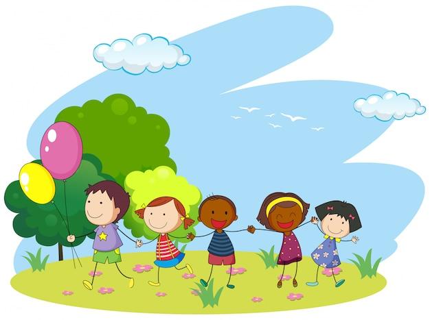 Crianças, segurando, mãos, parque