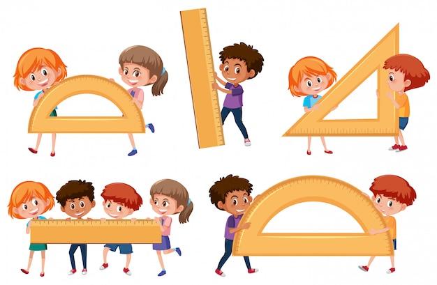 Crianças, segurando, matemática, ferramenta
