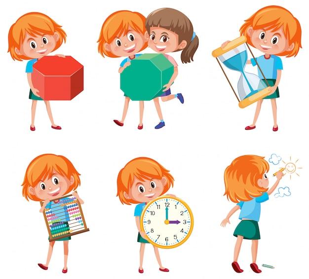 Crianças, segurando, matemática, objetos