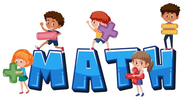 Crianças, segurando, matemática, símbolos