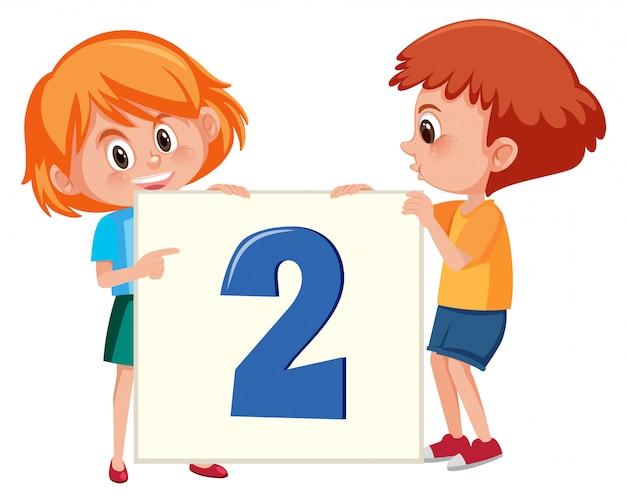 Crianças, segurando, numere dois, bandeira