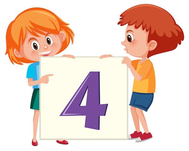 Crianças, segurando, numere quatro, bandeira