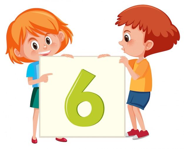Crianças, segurando, numere seis, bandeira