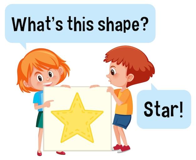 Crianças segurando um banner em forma de estrela com a fonte o que é esta forma