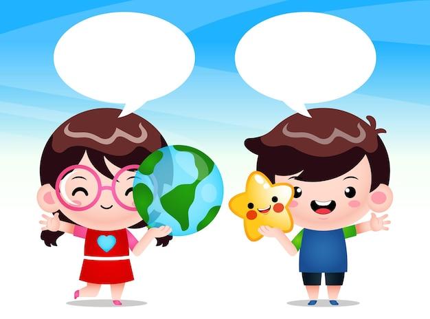 Crianças segurando um globo terrestre transparente e uma estrela com discurso de bolha