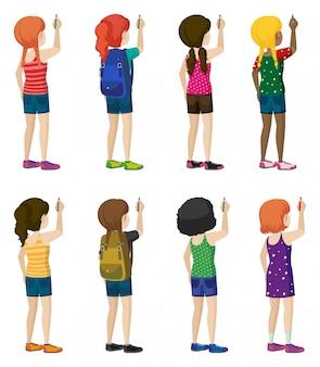 Crianças sem rosto com trajes elegantes