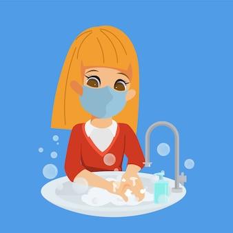 Crianças sempre lavando as mãos personagem.
