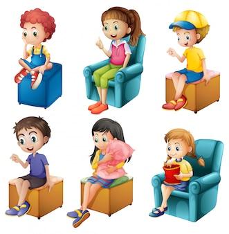 Crianças sentadas