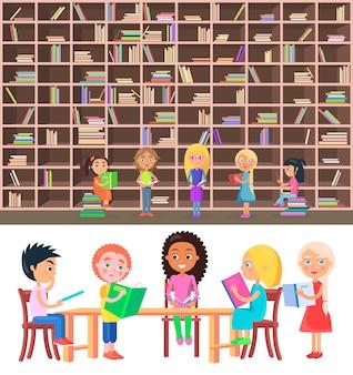 Crianças, sentando, tabela, em, biblioteca, com, grande, estante