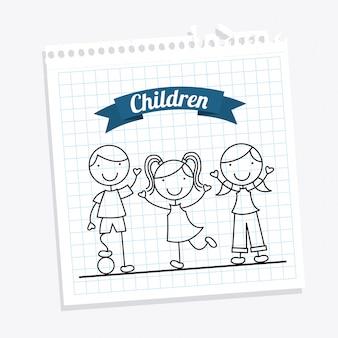 Crianças sobre fundo branco