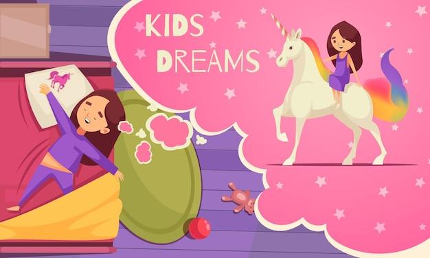 Crianças sonhando com uma composição de unicórnio com um balão de pensamento de texto e uma garota adormecida montando um unicórnio em seus sonhos