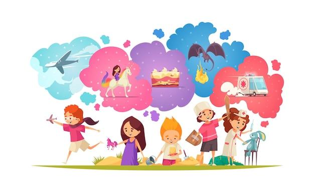 Crianças sonhando, composição com grupo de personagens infantis doodle com brinquedos e balões de pensamento coloridos da imaginação