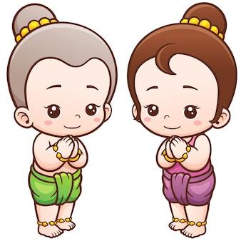 Crianças tailandesas dos desenhos animados, sawasdee