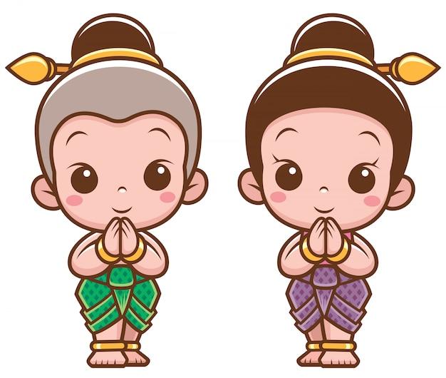 Crianças tailandesas dos desenhos animados