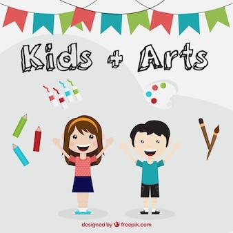 Crianças talentosas com as coisas artísticas